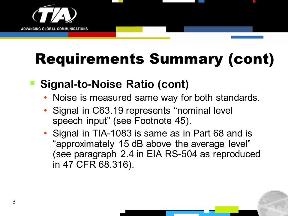 6 Requirements Summary (cont) Signal-to-Noise Ratio (cont) Noise is measured same way for both standards. Signal in C63.19 represents nominal level sp
