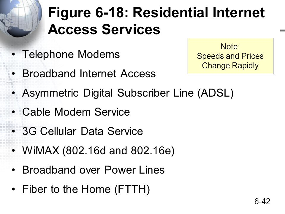 6-42 Figure 6-18: Residential Internet Access Services Telephone Modems Broadband Internet Access Asymmetric Digital Subscriber Line (ADSL) Cable Mode