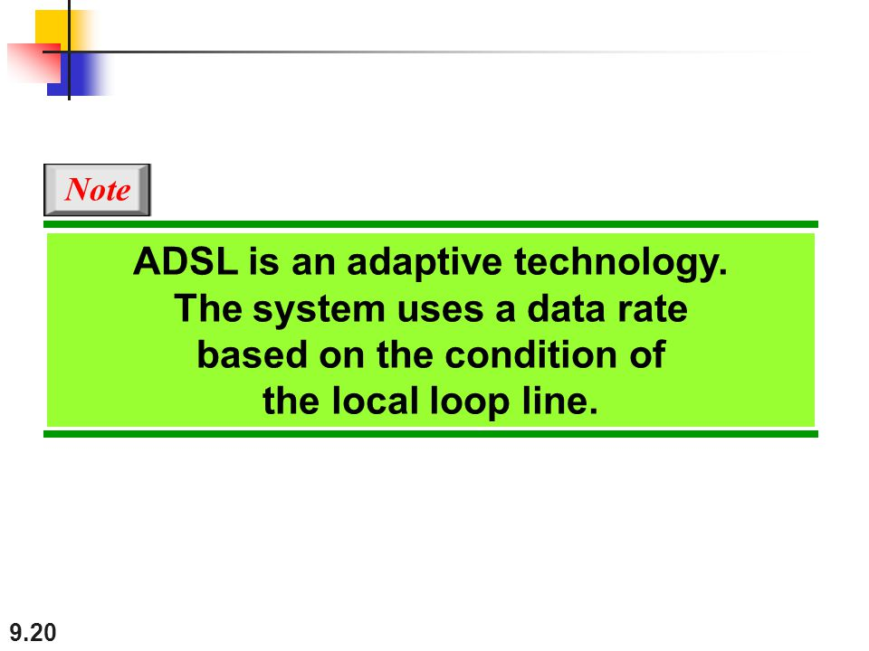 9.20 ADSL is an adaptive technology. The system uses a data rate based on the condition of the local loop line. Note