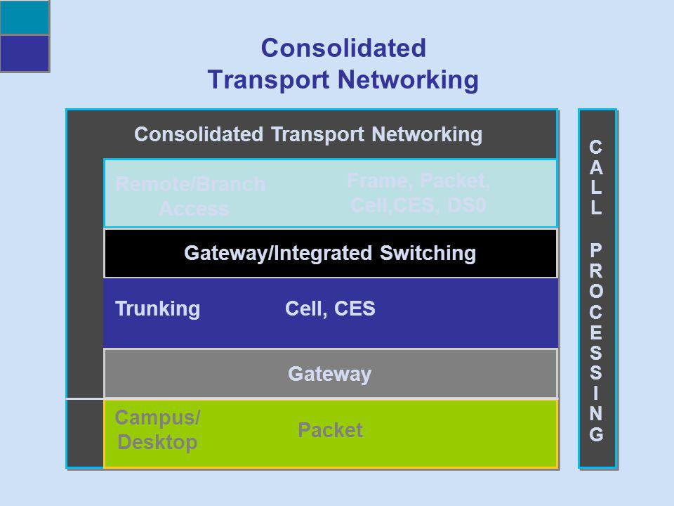 Frame, Packet, Cell,CES, DS0 Gateway/Integrated Switching Cell, CES Gateway Packet Campus/ Desktop Trunking Remote/Branch Access CALLPROCESSINGCALLPRO