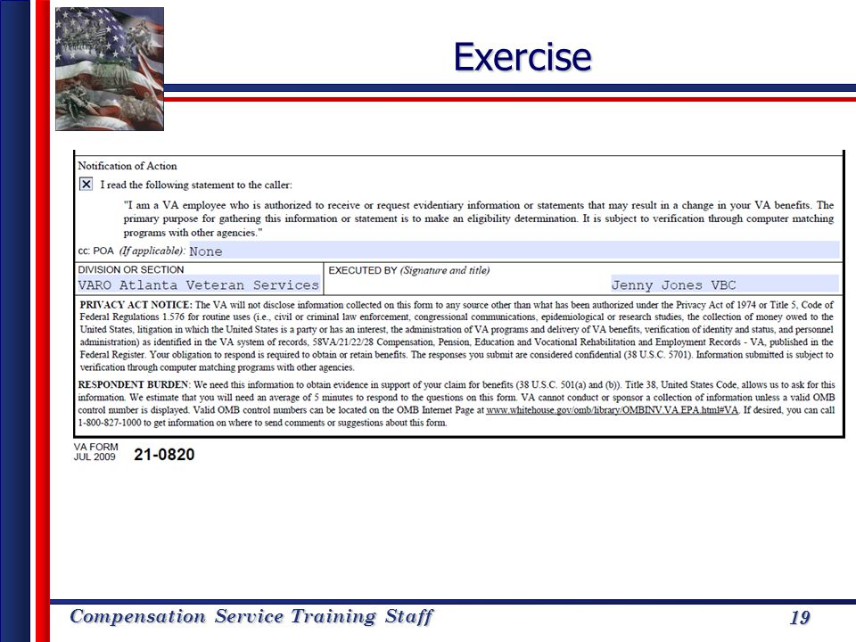 Compensation Service Training Staff 19Exercise 19