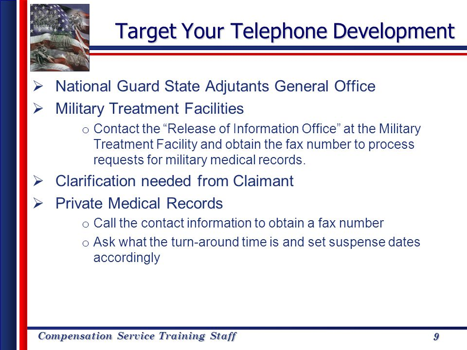 Compensation Service Training Staff 9 Target Your Telephone Development National Guard State Adjutants General Office Military Treatment Facilities o