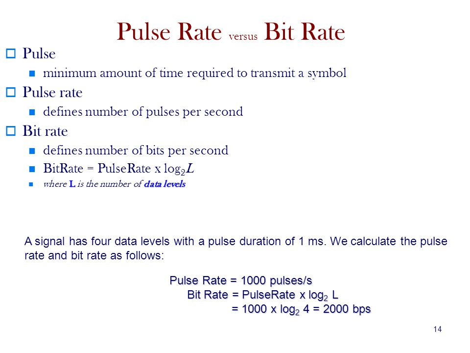 14 Pulse Rate versus Bit Rate Pulse minimum amount of time required to transmit a symbol Pulse rate defines number of pulses per second Bit rate defines number of bits per second BitRate = PulseRate x log 2 L Ldata levels where L is the number of data levels A signal has four data levels with a pulse duration of 1 ms.