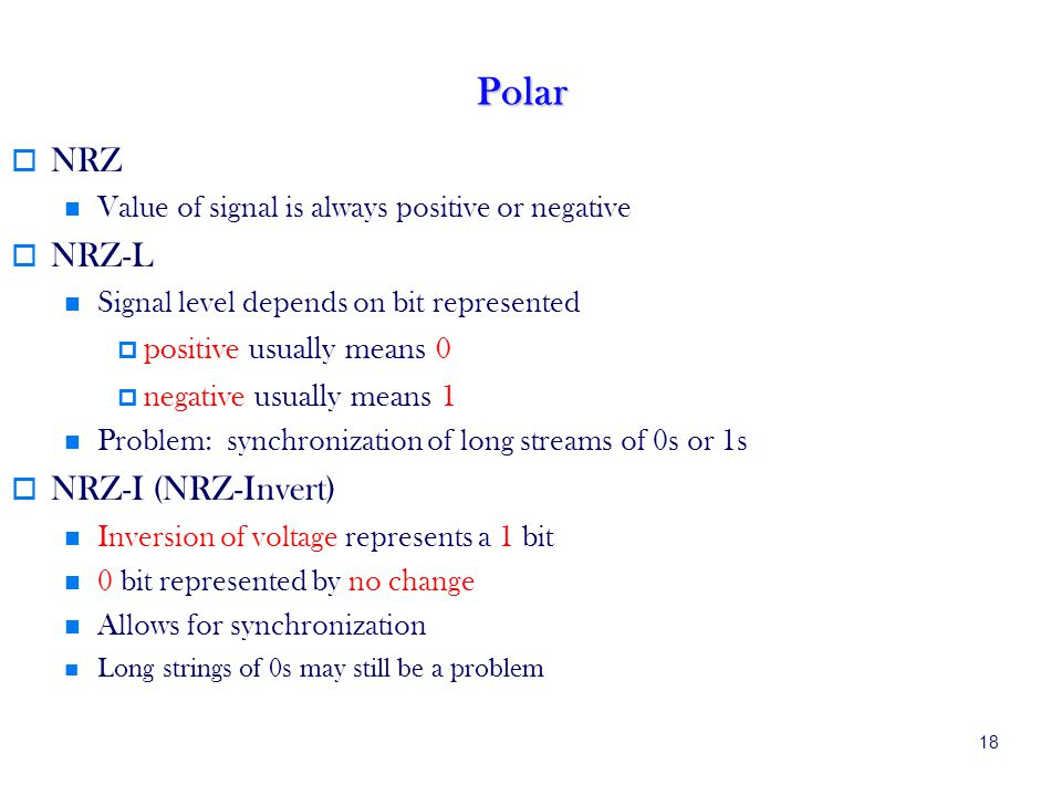 18 Polar NRZ Value of signal is always positive or negative NRZ-L Signal level depends on bit represented positive usually means 0 negative usually means 1 Problem: synchronization of long streams of 0s or 1s NRZ-I (NRZ-Invert) Inversion of voltage represents a 1 bit 0 bit represented by no change Allows for synchronization Long strings of 0s may still be a problem