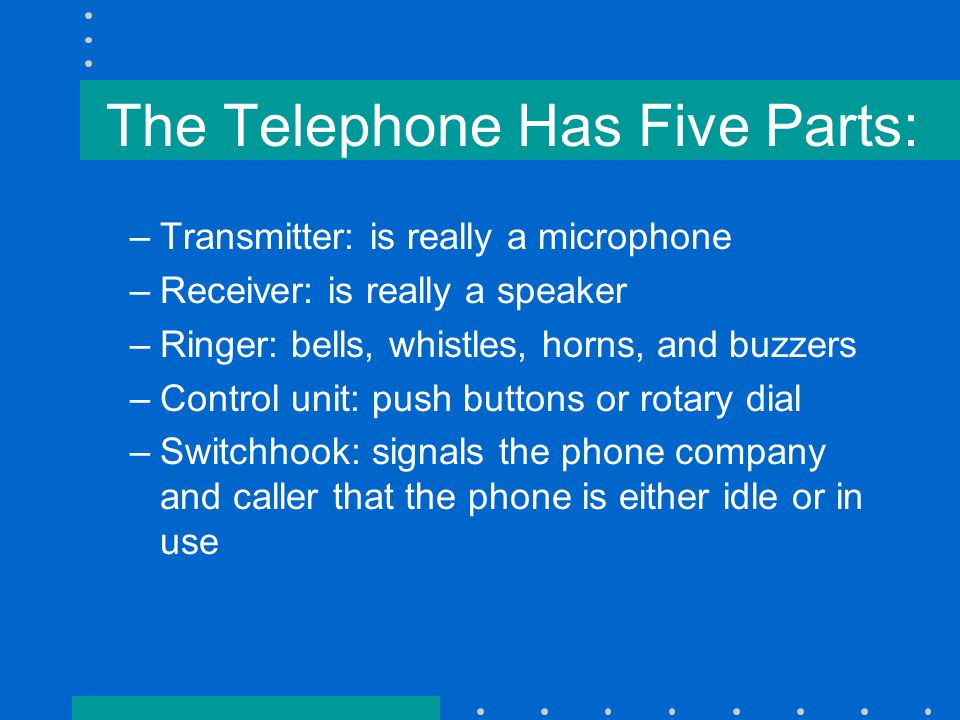 Key Telephone Systems: –For the small business user –Permits multiple lines to terminate on one telephone with the punch of a button –Many features are inherent in the system, such as hold and call pickup