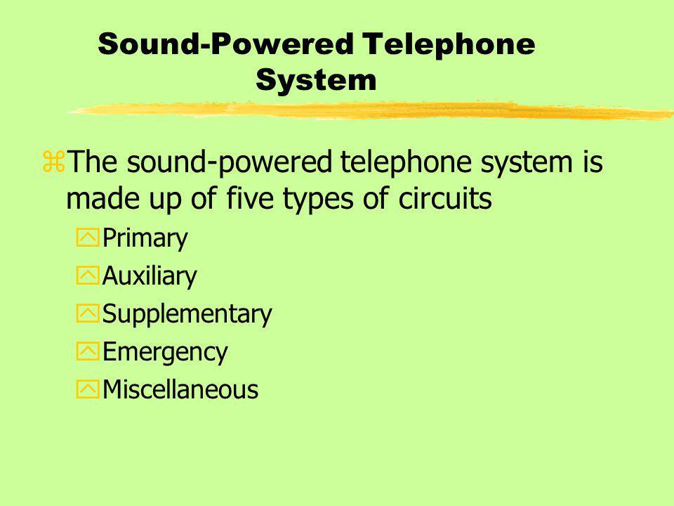 Sound-Powered Telephone System zThe sound-powered telephone system is made up of five types of circuits yPrimary yAuxiliary ySupplementary yEmergency yMiscellaneous