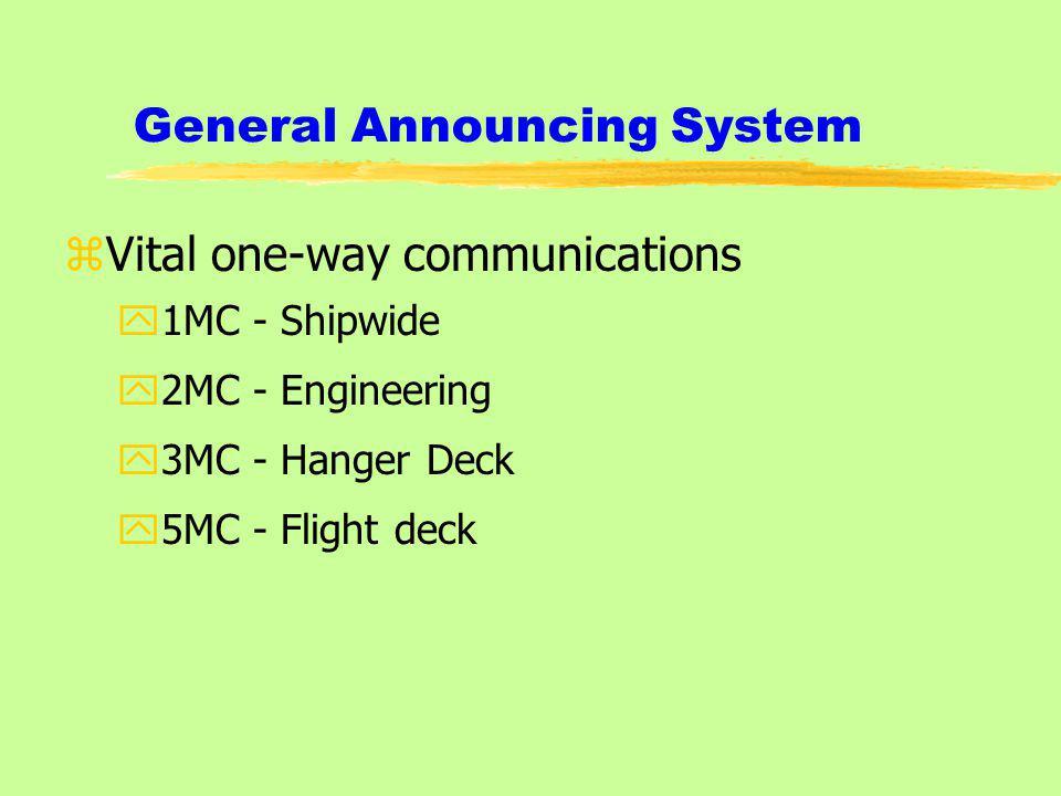 General Announcing System zVital one-way communications y1MC - Shipwide y2MC - Engineering y3MC - Hanger Deck y5MC - Flight deck