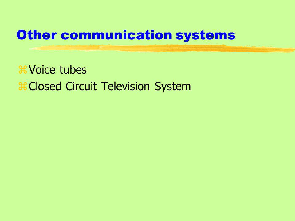 Other communication systems zVoice tubes zClosed Circuit Television System