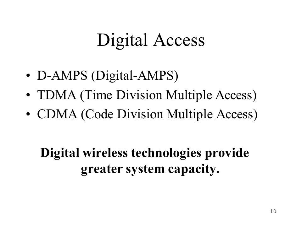 10 Digital Access D-AMPS (Digital-AMPS) TDMA (Time Division Multiple Access) CDMA (Code Division Multiple Access) Digital wireless technologies provid