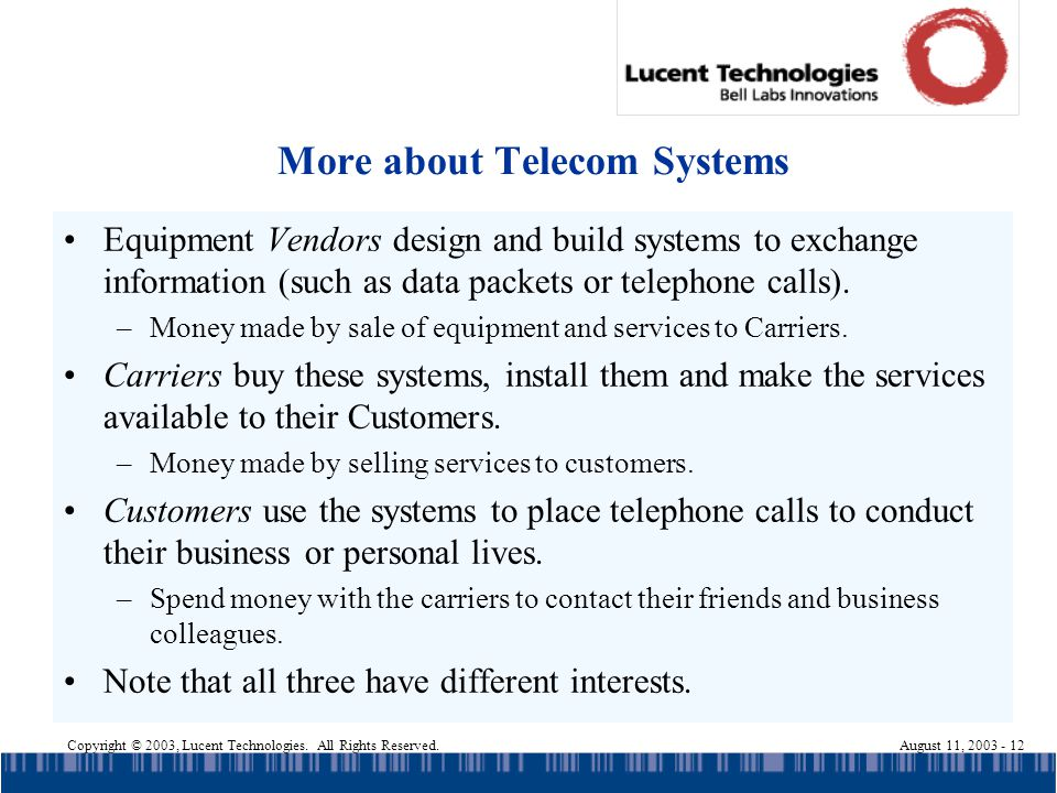 Copyright © 2003, Lucent Technologies. All Rights Reserved.August 11, 2003 - 12 More about Telecom Systems Equipment Vendors design and build systems