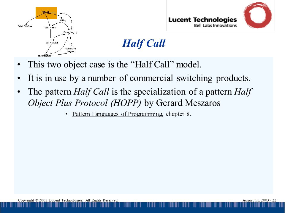 Copyright © 2003, Lucent Technologies. All Rights Reserved.August 11, 2003 - 22 Half Call This two object case is the Half Call model. It is in use by