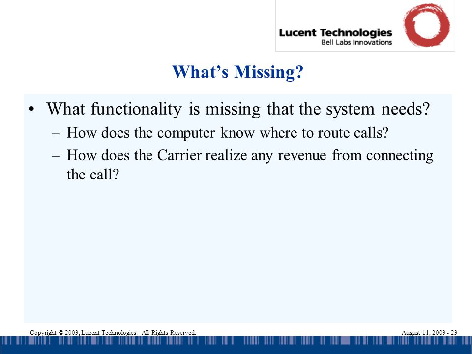 Copyright © 2003, Lucent Technologies. All Rights Reserved.August 11, 2003 - 23 Whats Missing? What functionality is missing that the system needs? –H