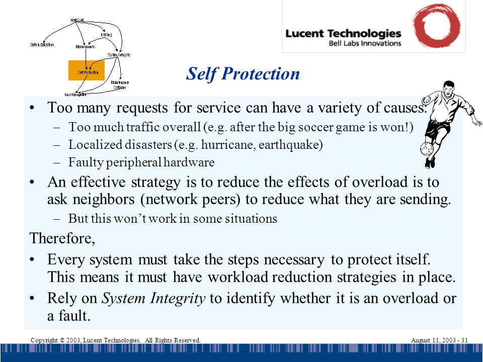 Copyright © 2003, Lucent Technologies. All Rights Reserved.August 11, 2003 - 31 Self Protection Too many requests for service can have a variety of ca