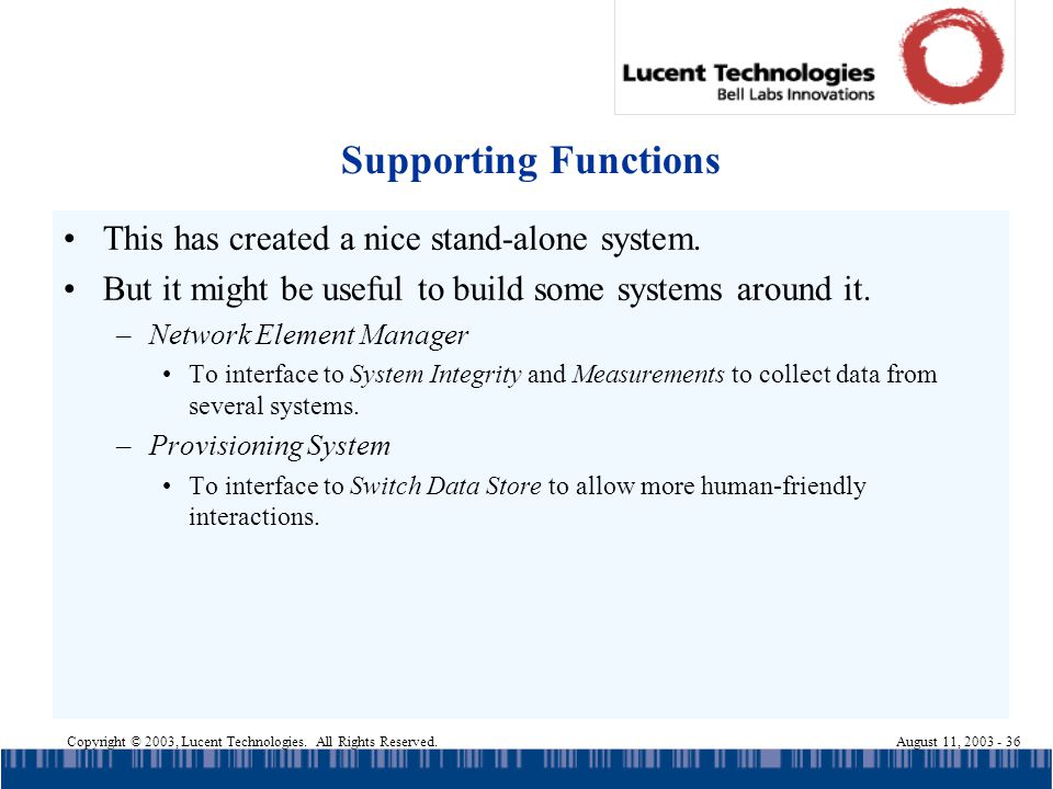 Copyright © 2003, Lucent Technologies. All Rights Reserved.August 11, 2003 - 36 Supporting Functions This has created a nice stand-alone system. But i