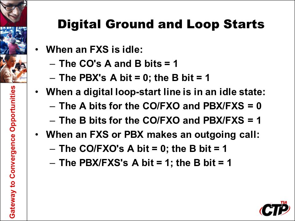Digital Ground and Loop Starts When an FXS is idle: –The CO's A and B bits = 1 –The PBX's A bit = 0; the B bit = 1 When a digital loop-start line is i