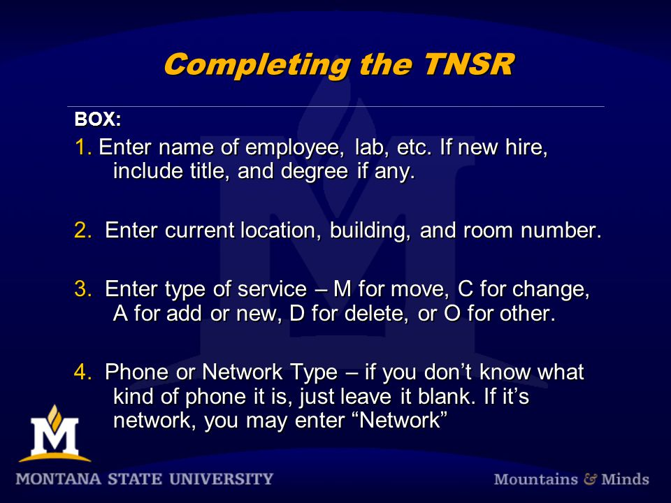 TNSR & Voicemail Online Complete both forms at the same time.