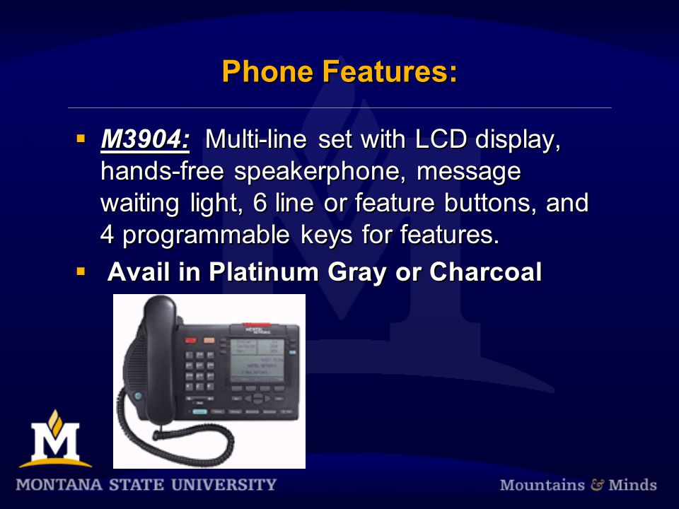 Phone Features: M3903: Multi-line digital set with up to 4 lines, an LCD display, hands-free speakerphone and 4 feature buttons.
