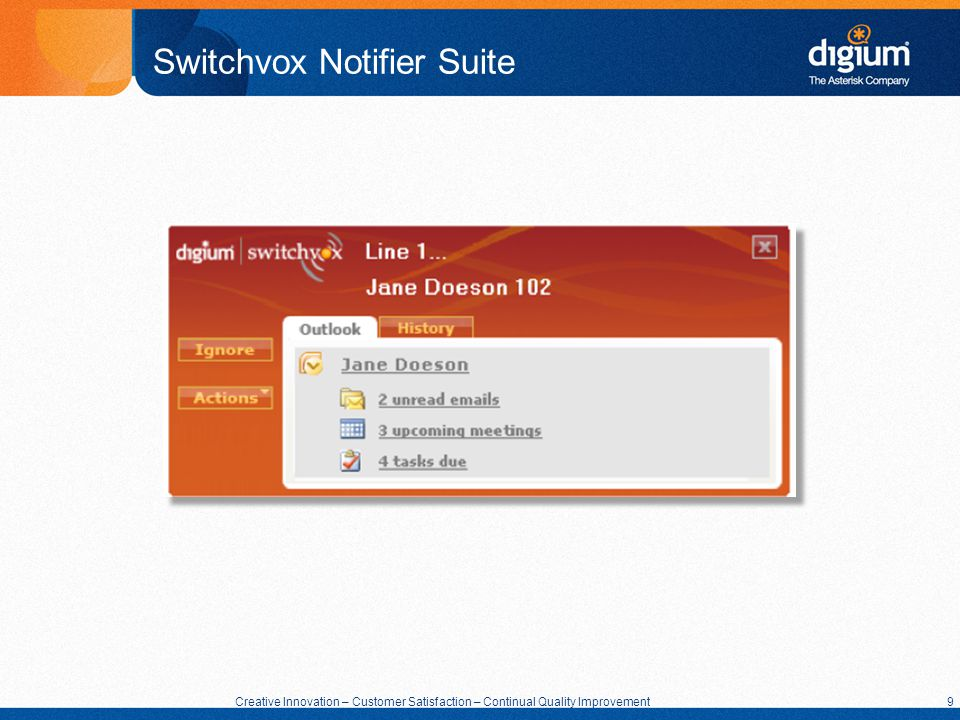9 Creative Innovation – Customer Satisfaction – Continual Quality Improvement 9 Switchvox Notifier Suite