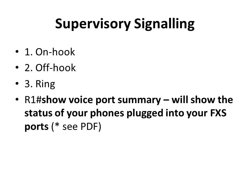Supervisory Signalling 1. On-hook 2. Off-hook 3.