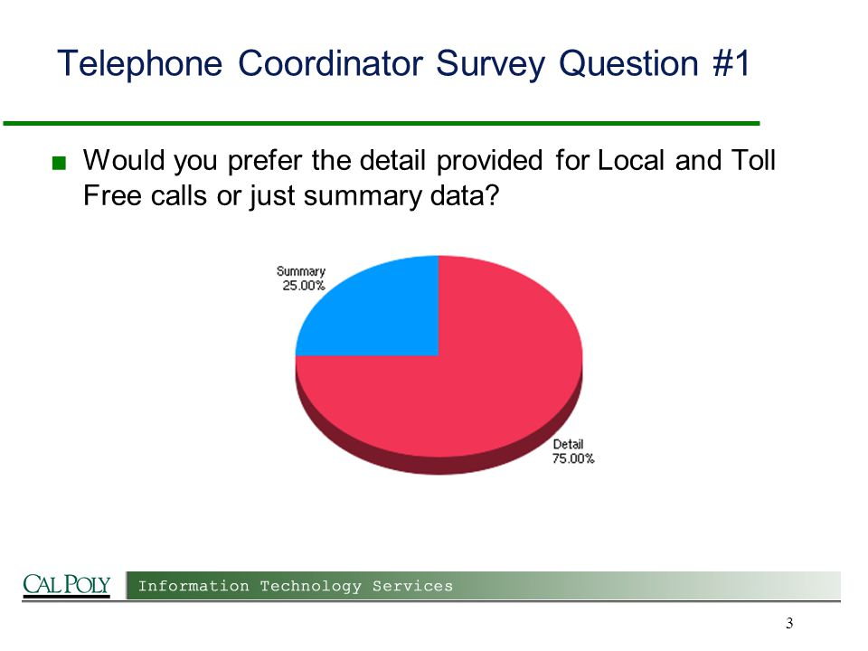 Telephone Coordinator Survey Question #1 Would you prefer the detail provided for Local and Toll Free calls or just summary data.
