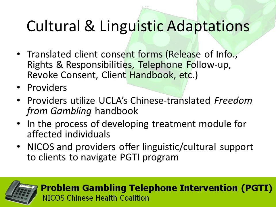 Cultural & Linguistic Adaptations Translated client consent forms (Release of Info., Rights & Responsibilities, Telephone Follow-up, Revoke Consent, Client Handbook, etc.) Providers Providers utilize UCLAs Chinese-translated Freedom from Gambling handbook In the process of developing treatment module for affected individuals NICOS and providers offer linguistic/cultural support to clients to navigate PGTI program