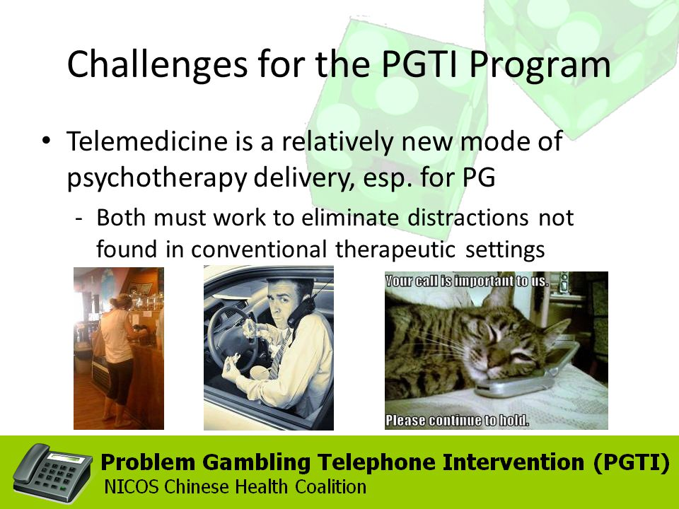 Challenges for the PGTI Program Telemedicine is a relatively new mode of psychotherapy delivery, esp. for PG -Both must work to eliminate distractions