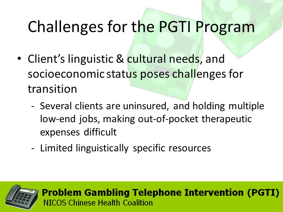 Challenges for the PGTI Program Clients linguistic & cultural needs, and socioeconomic status poses challenges for transition -Several clients are uni