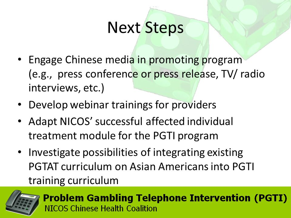 Engage Chinese media in promoting program (e.g., press conference or press release, TV/ radio interviews, etc.) Develop webinar trainings for providers Adapt NICOS successful affected individual treatment module for the PGTI program Investigate possibilities of integrating existing PGTAT curriculum on Asian Americans into PGTI training curriculum