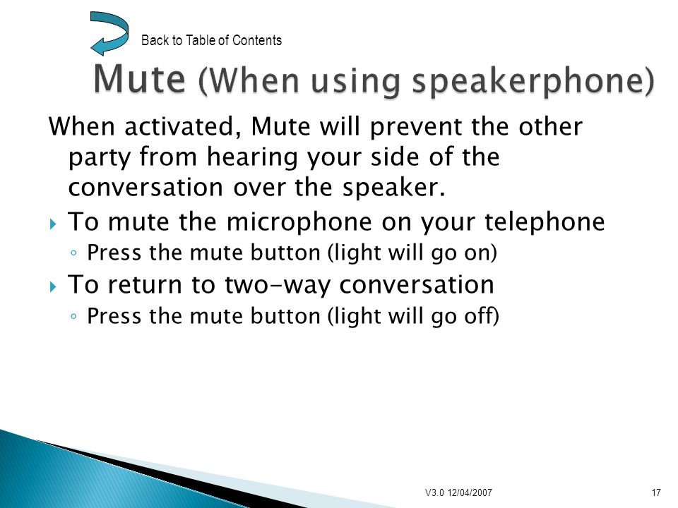 When activated, Mute will prevent the other party from hearing your side of the conversation over the speaker.