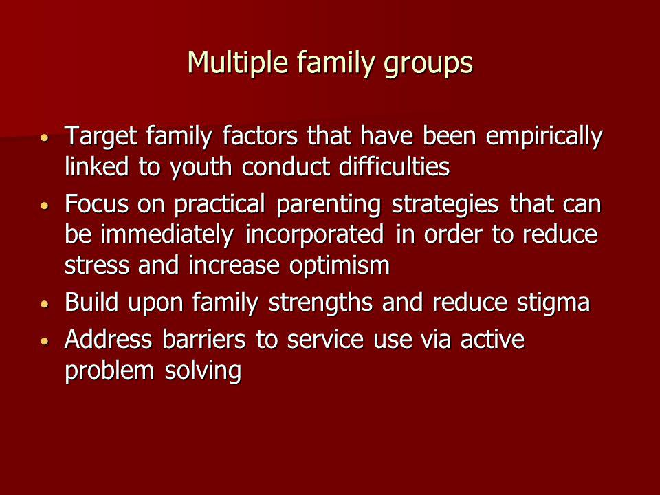 Multiple family groups Target family factors that have been empirically linked to youth conduct difficulties Target family factors that have been empirically linked to youth conduct difficulties Focus on practical parenting strategies that can be immediately incorporated in order to reduce stress and increase optimism Focus on practical parenting strategies that can be immediately incorporated in order to reduce stress and increase optimism Build upon family strengths and reduce stigma Build upon family strengths and reduce stigma Address barriers to service use via active problem solving Address barriers to service use via active problem solving