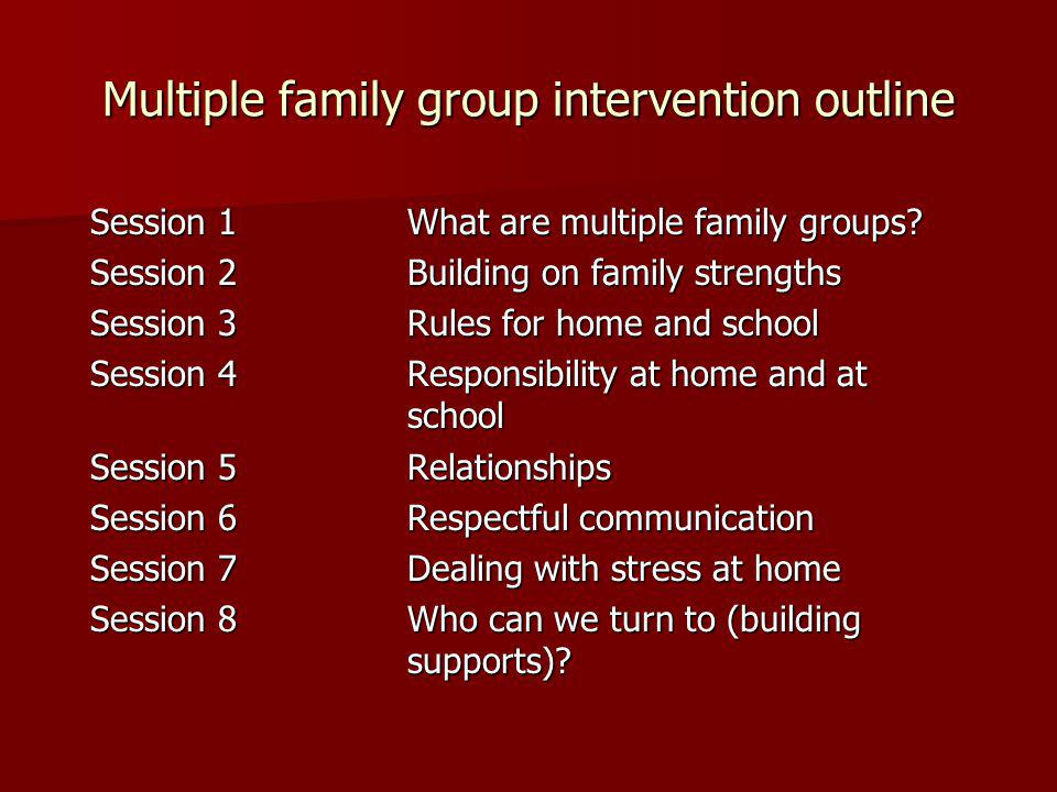 Multiple family group intervention outline Session 1What are multiple family groups.