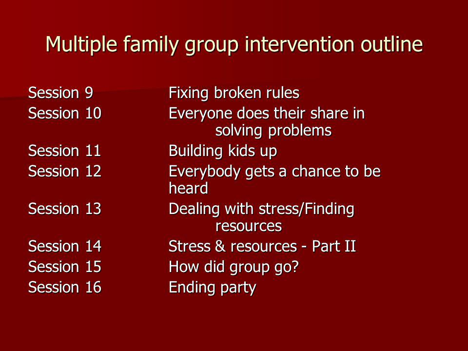 Multiple family group intervention outline Session 9Fixing broken rules Session 10Everyone does their share in solving problems Session 11Building kids up Session 12Everybody gets a chance to be heard Session 13Dealing with stress/Finding resources Session 14Stress & resources - Part II Session 15How did group go.