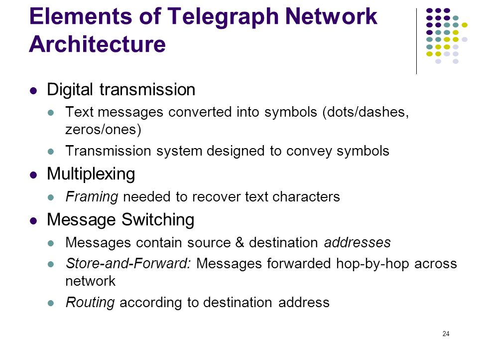 24 Elements of Telegraph Network Architecture Digital transmission Text messages converted into symbols (dots/dashes, zeros/ones) Transmission system designed to convey symbols Multiplexing Framing needed to recover text characters Message Switching Messages contain source & destination addresses Store-and-Forward: Messages forwarded hop-by-hop across network Routing according to destination address