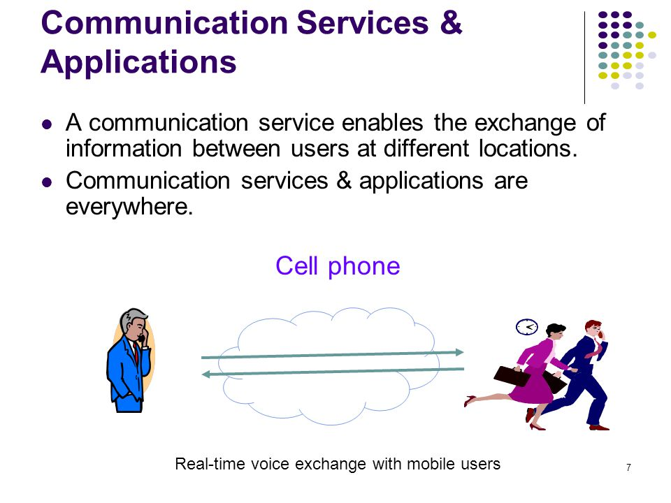 7 Communication Services & Applications Cell phone Real-time voice exchange with mobile users A communication service enables the exchange of information between users at different locations.