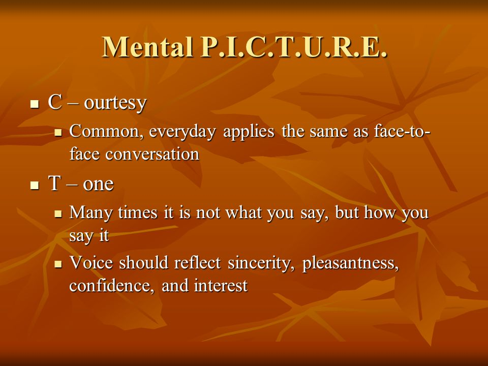 Mental P.I.C.T.U.R.E. C – ourtesy C – ourtesy Common, everyday applies the same as face-to- face conversation Common, everyday applies the same as fac