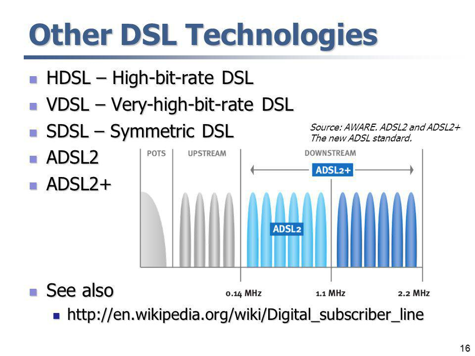 16 Other DSL Technologies HDSL – High-bit-rate DSL HDSL – High-bit-rate DSL VDSL – Very-high-bit-rate DSL VDSL – Very-high-bit-rate DSL SDSL – Symmetr