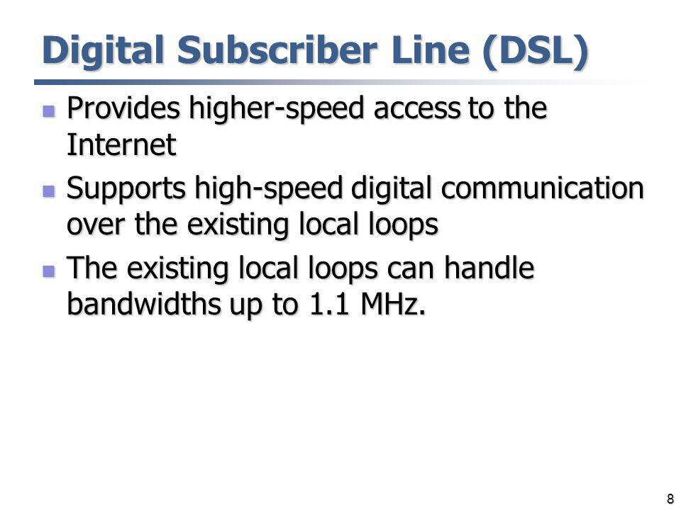 9 ADSL ADSL – Asymmetric Digital Subscriber Line ADSL – Asymmetric Digital Subscriber Line Downstream bit rate > upstream bit rate Downstream bit rate > upstream bit rate Designed for residential users Designed for residential users Unsuitable for businesses Unsuitable for businesses ADSL operates on existing local loops ADSL operates on existing local loops Local loops can handle up to 1.1 MHz of bandwidth Local loops can handle up to 1.1 MHz of bandwidth The distance limit is ~18,000 feet The distance limit is ~18,000 feet The system uses a data rate based on the condition of the local loop line The system uses a data rate based on the condition of the local loop line