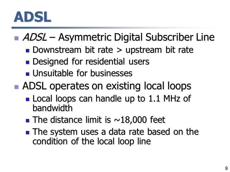 9 ADSL ADSL – Asymmetric Digital Subscriber Line ADSL – Asymmetric Digital Subscriber Line Downstream bit rate > upstream bit rate Downstream bit rate