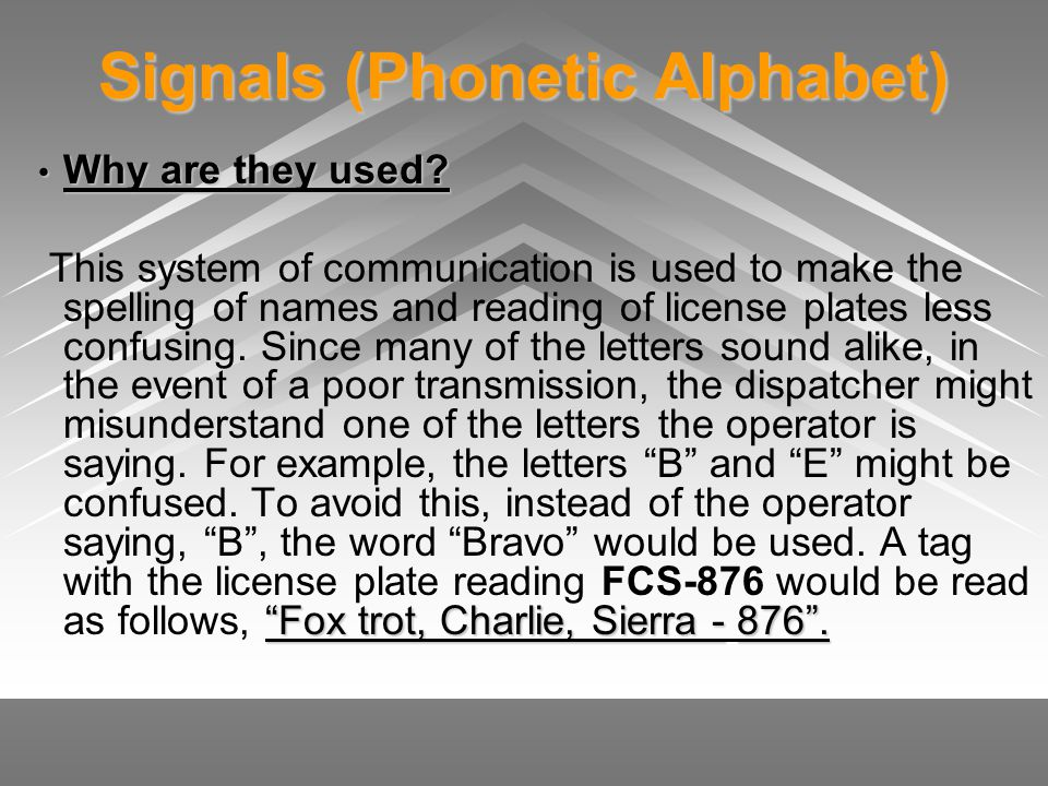 Signals (Phonetic Alphabet) Why are they used? Why are they used? Fox trot, Charlie, Sierra -876. This system of communication is used to make the spe