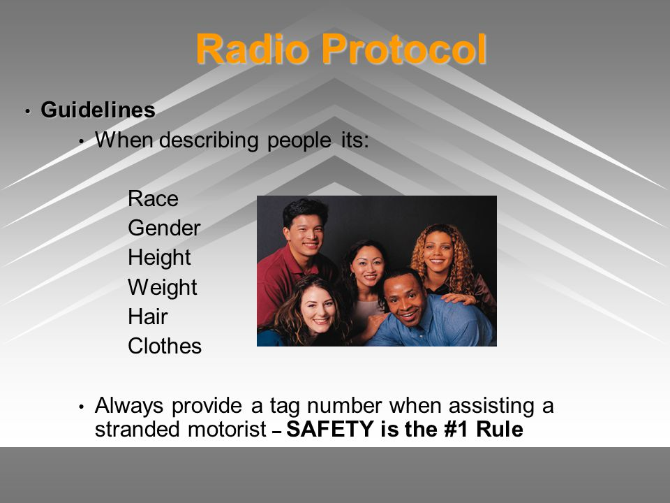 Radio Protocol Radio Protocol Guidelines Guidelines When describing people its: Race Gender Height Weight Hair Clothes Always provide a tag number whe