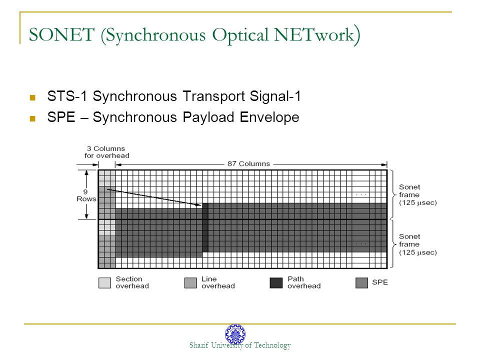 Sharif University of Technology SONET (Synchronous Optical NETwork ) STS-1 Synchronous Transport Signal-1 SPE – Synchronous Payload Envelope