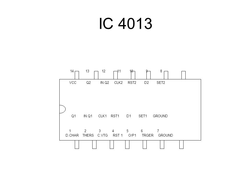 IC 4013 VCC Q2 IN.Q2 CLK2 RST2 D2 SET2 Q1 IN.Q1 CLK1 RST1 D1 SET1 GROUND D.CHAR THERS C.VTG RST 1 O/P1 TRGER GROUND 14 13 12 11 10 9 8 1 2 3 4 5 6 7