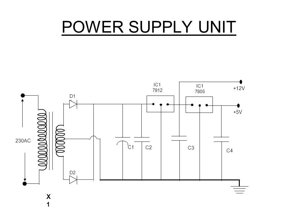 POWER SUPPLY UNIT 230AC X1X1 C1 D2 1 C2 C3 IC1 7812 D1 1 9V C4 IC1 7805 +12V +5V