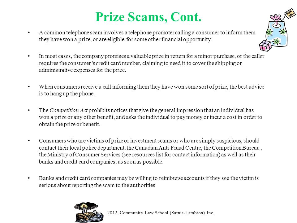 Prize Scams, Cont.