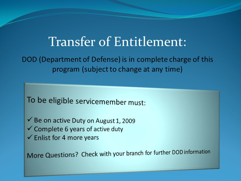 You must have 36 months of active duty after 9/11 to receive 100% of the bills benefits.
