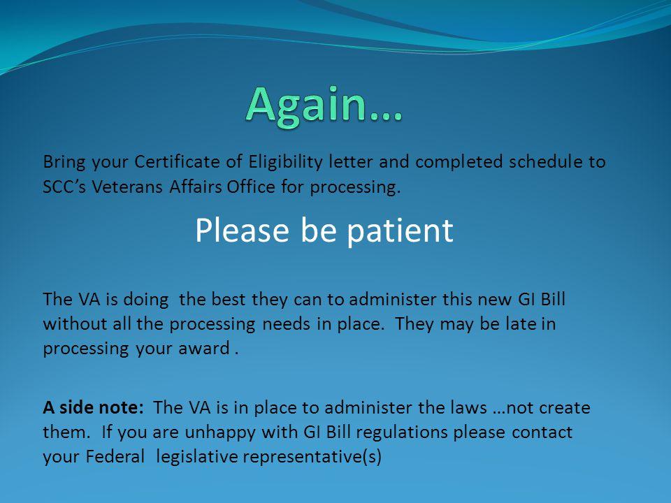 VA Website: www.gibill.va.govwww.gibill.va.gov Military Website: www.military.comwww.military.com VA Phone: 1-888-442-4551 SCC Veterans Office: 1-509-533-7027 SCC Veterans Affairs Website: http://www.scc.spokane.edu/stsrv/va/