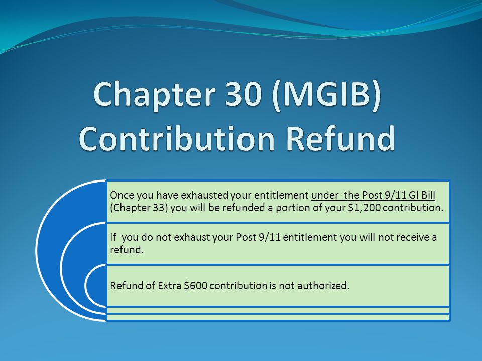 Once you have exhausted your entitlement under the Post 9/11 GI Bill (Chapter 33) you will be refunded a portion of your $1,200 contribution. If you d