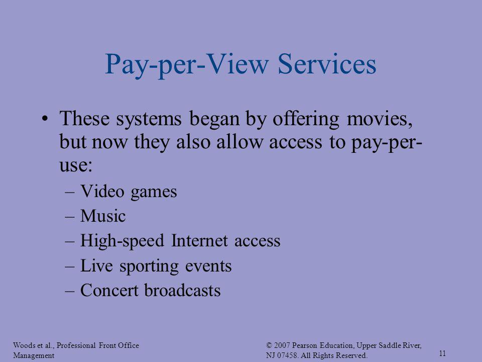 Woods et al., Professional Front Office Management © 2007 Pearson Education, Upper Saddle River, NJ 07458. All Rights Reserved. 11 Pay-per-View Servic