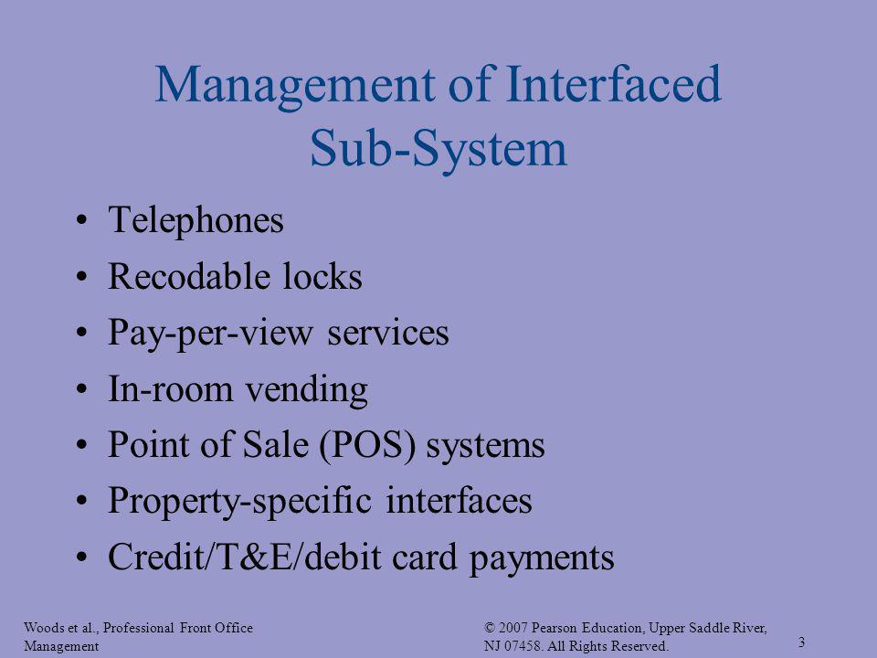 Woods et al., Professional Front Office Management © 2007 Pearson Education, Upper Saddle River, NJ 07458. All Rights Reserved. 3 Management of Interf