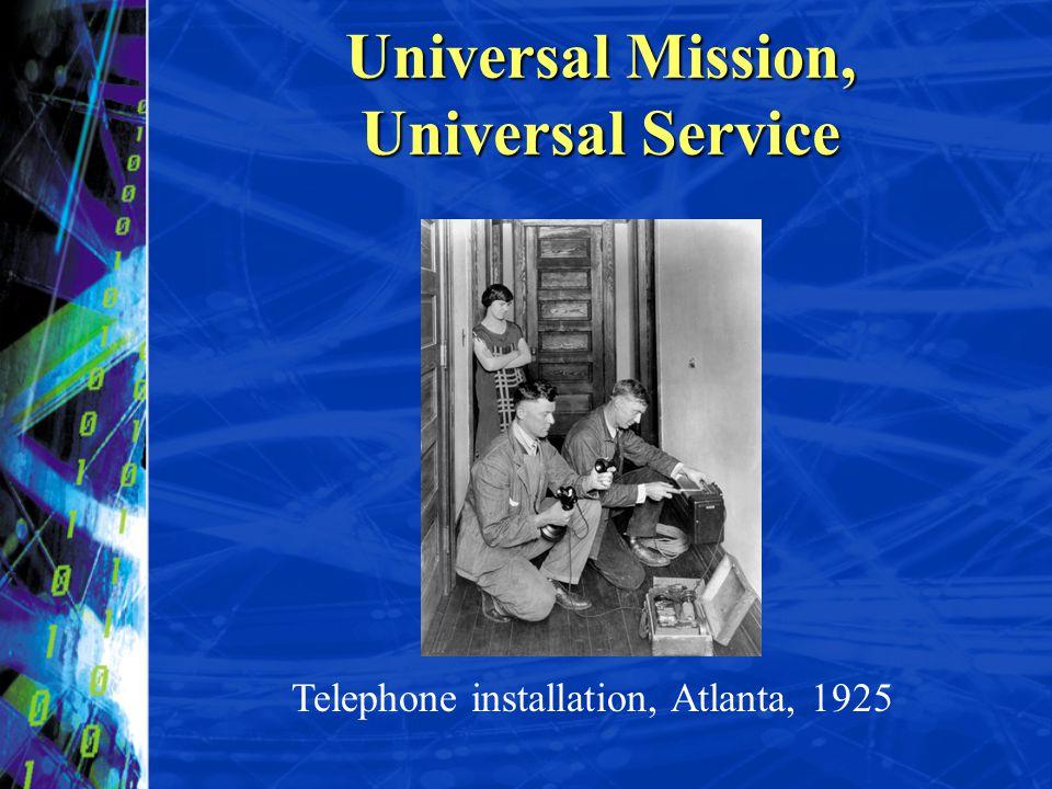 Telephone installation, Atlanta, 1925 Universal Mission, Universal Service
